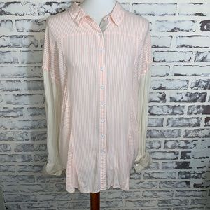 Free People MlPink Tan Striped Button Front Tunic